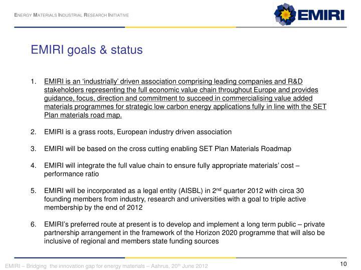 EMIRI goals & status