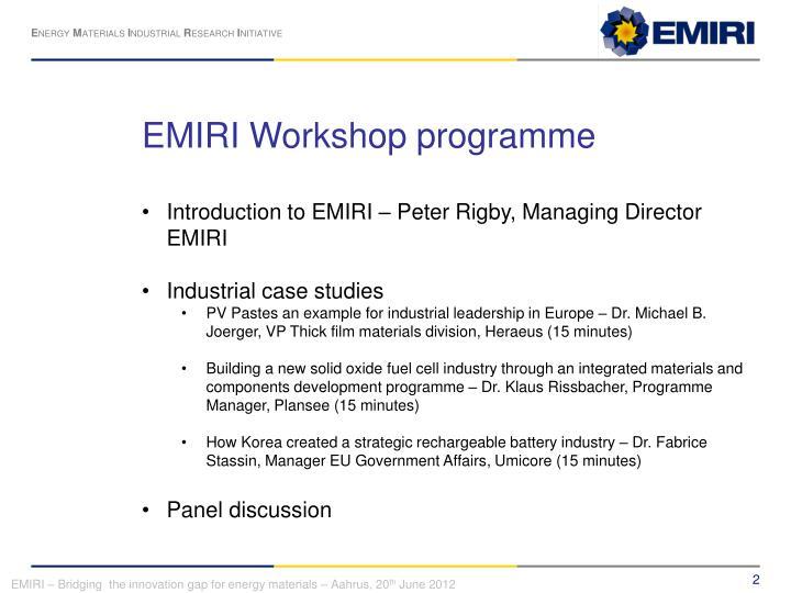 EMIRI Workshop programme