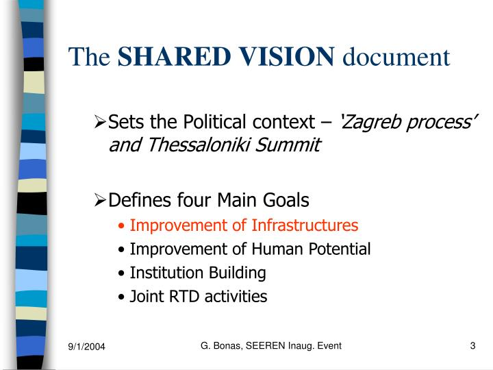The shared vision document