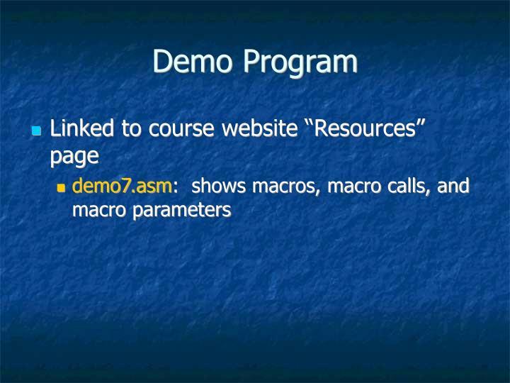 Demo Program