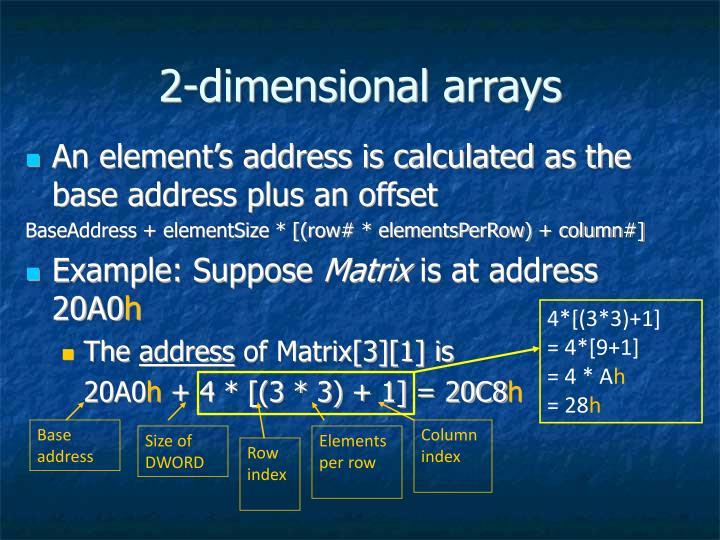2-dimensional arrays