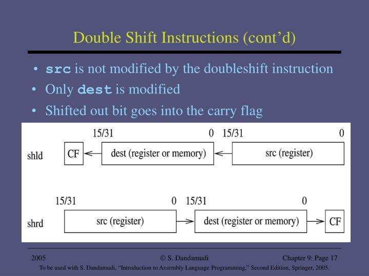Double Shift Instructions (cont'd)