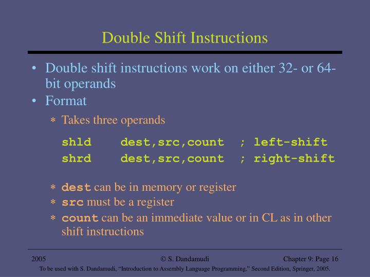 Double Shift Instructions