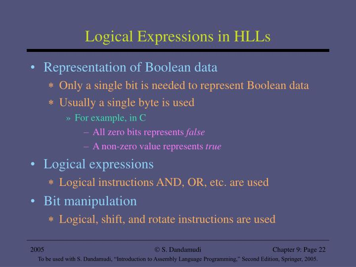 Logical Expressions in HLLs
