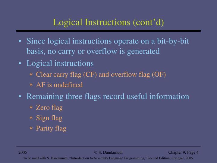 Logical Instructions (cont'd)