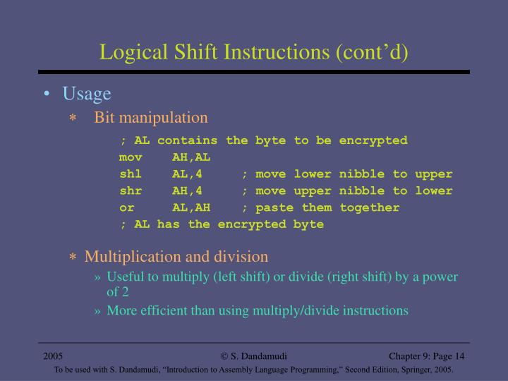 Logical Shift Instructions (cont'd)