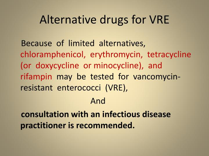 Alternative drugs for VRE