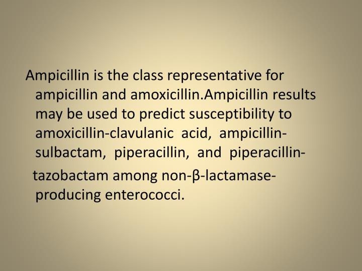 Ampicillin is the class representative for ampicillin and amoxicillin.Ampicillin results may be used to predict susceptibility to amoxicillin-clavulanic  acid,  ampicillin-sulbactam,  piperacillin,  and  piperacillin-