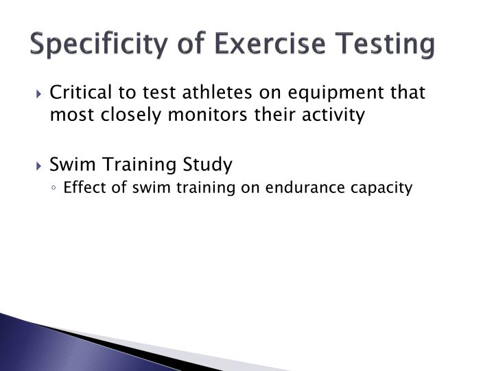 Specificity of Exercise Testing
