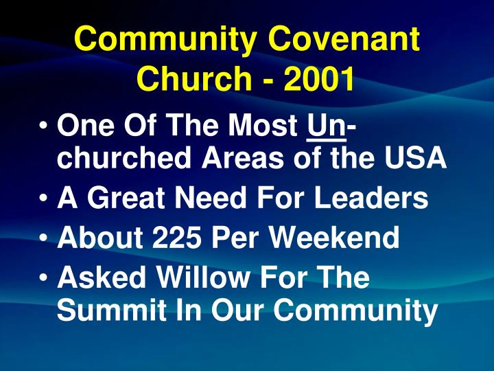 Community covenant church 2001