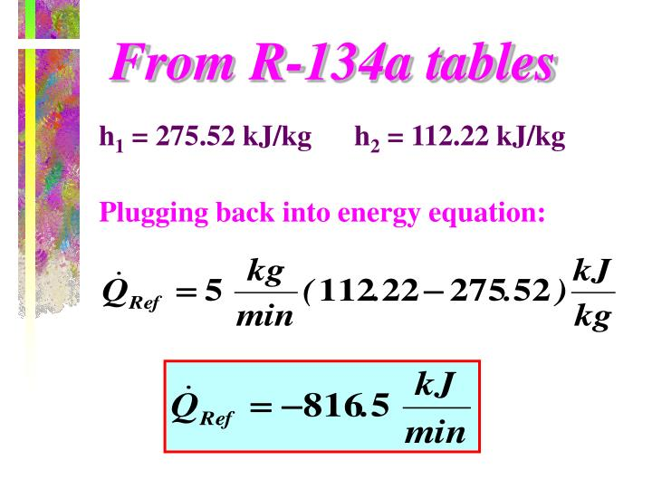 From R-134a tables