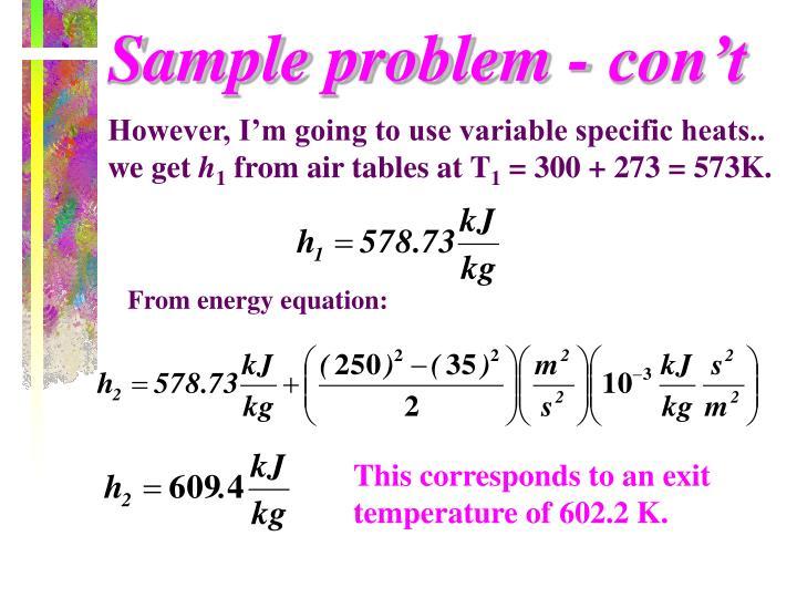 Sample problem - con't