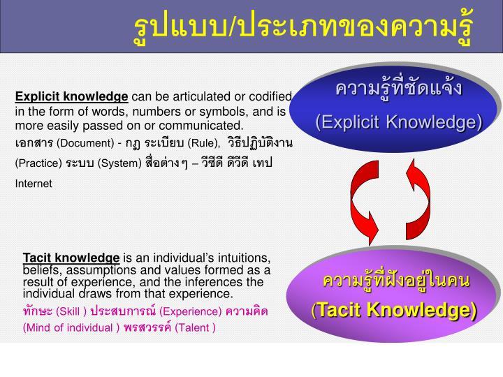 รูปแบบ/ประเภทของความรู้