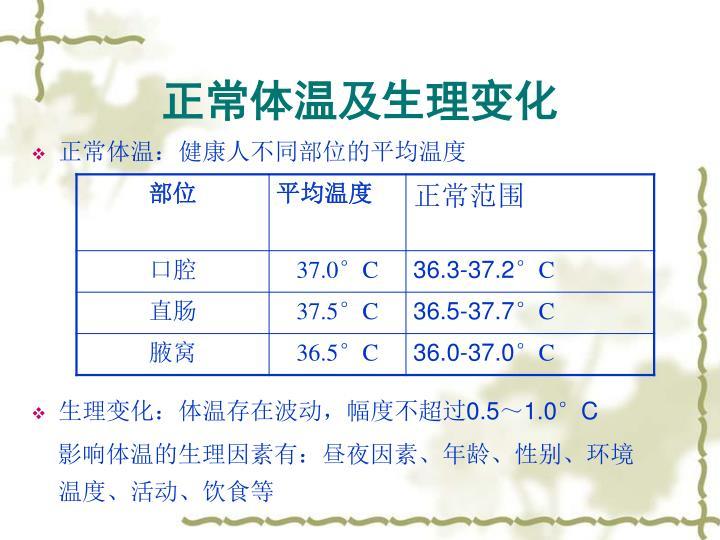 正常体温及生理变化