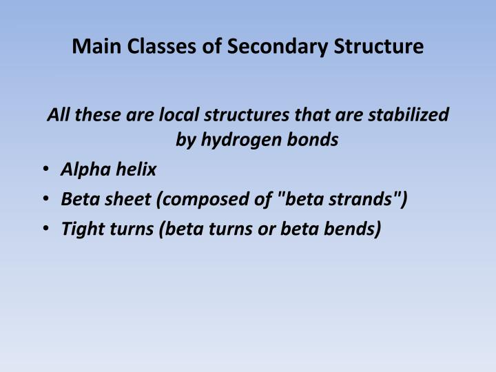Main Classes of Secondary Structure