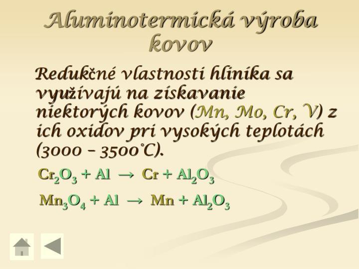 Aluminotermická výroba kovov