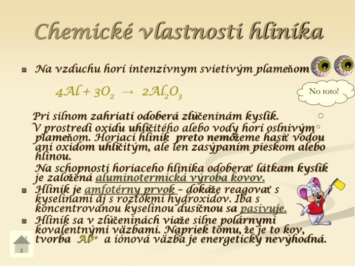 Chemické vlastnosti hliníka