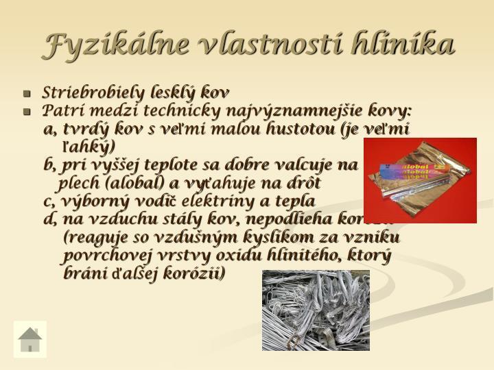 Fyzikálne vlastnosti hliníka
