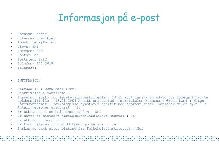 Informasjon på e-post