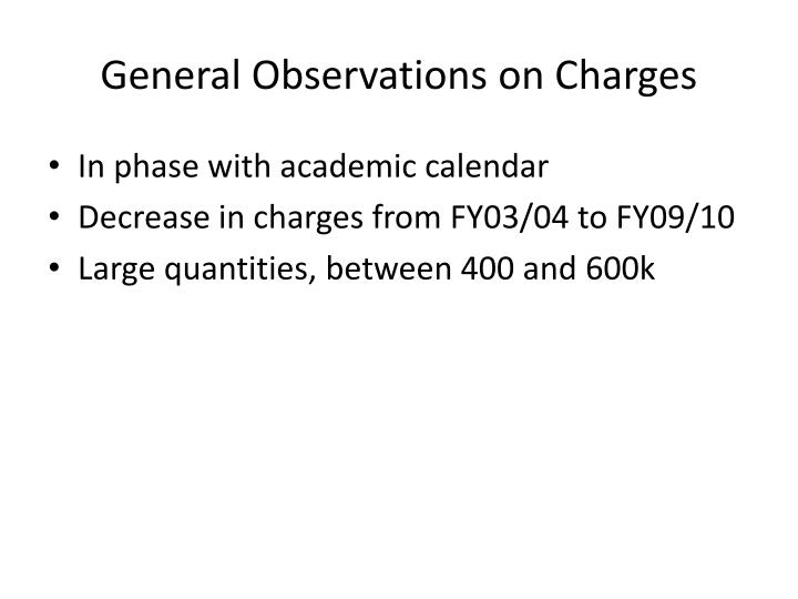 General Observations on Charges