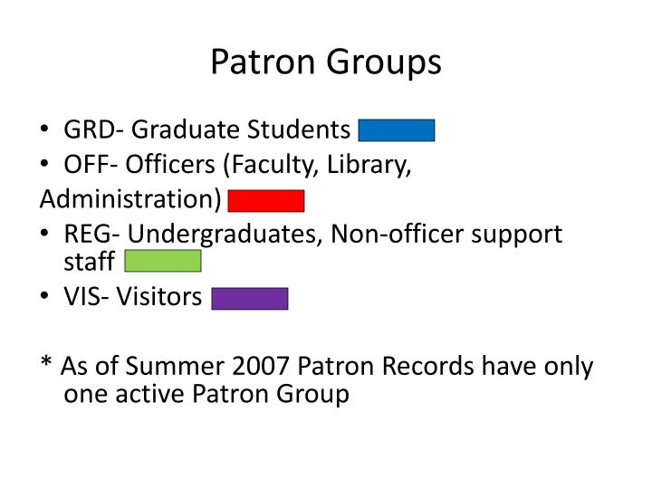 Patron Groups