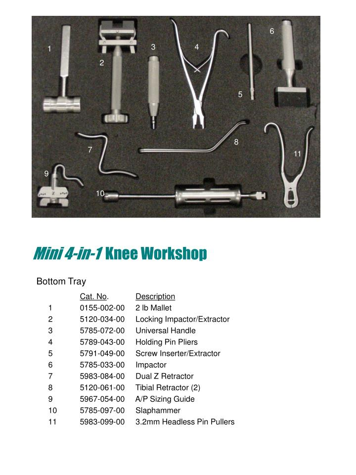 Mini 4 in 1 knee workshop