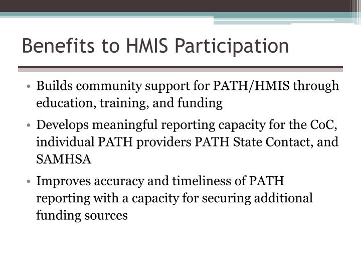 Benefits to HMIS Participation