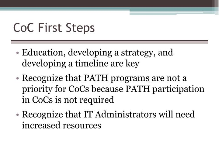 CoC First Steps