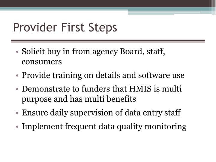 Provider First Steps