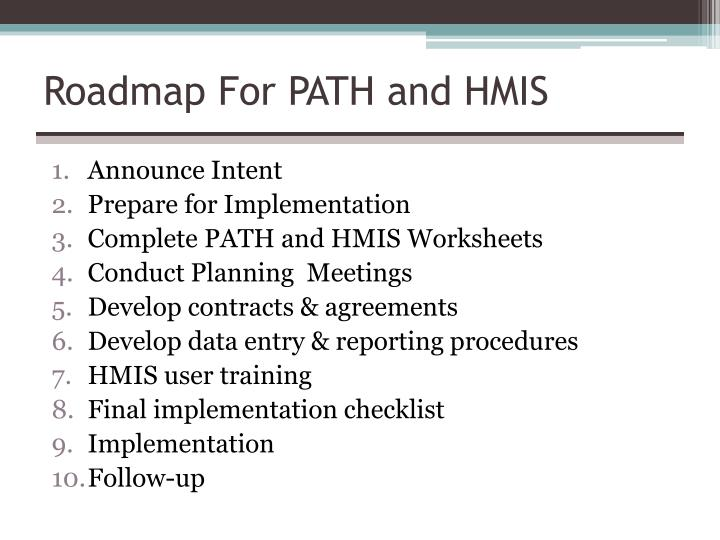 Roadmap For PATH and HMIS