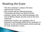 retaking the exam
