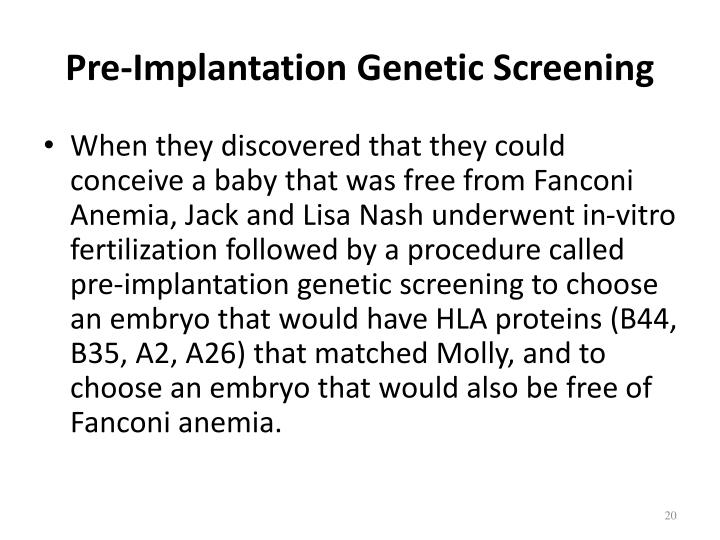 Pre-Implantation Genetic Screening
