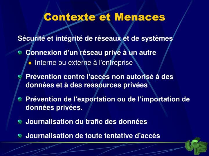 Contexte et Menaces
