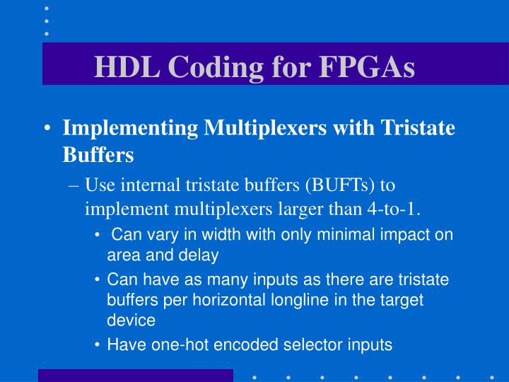 HDL Coding for FPGAs