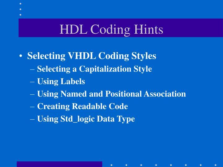 HDL Coding Hints