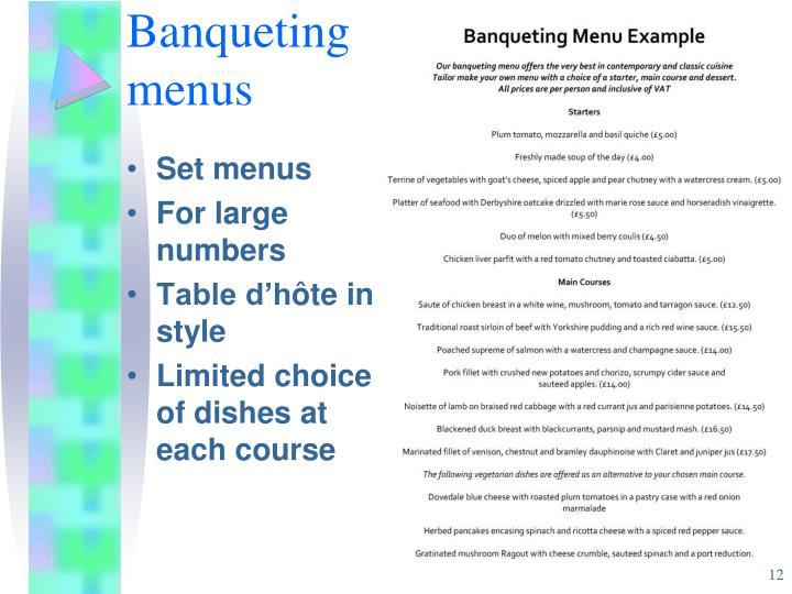 Banqueting menus