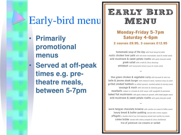 Early-bird menu