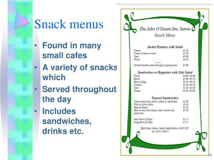 Snack menus