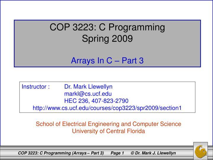 COP 3223: C Programming