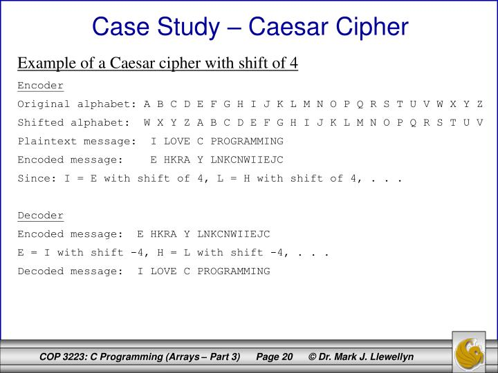 Example of a Caesar cipher with shift of 4