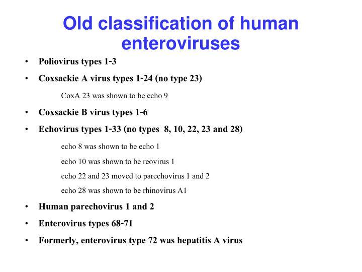 Old classification of human enteroviruses