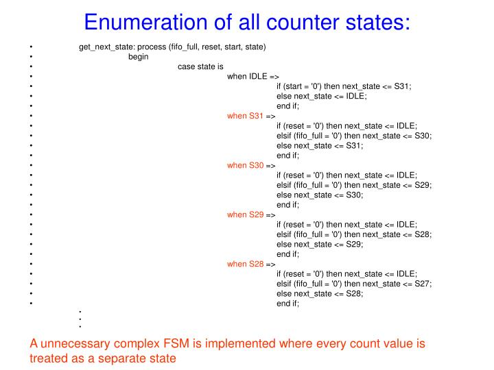 Enumeration of all counter states:
