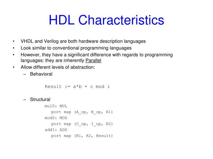 HDL Characteristics