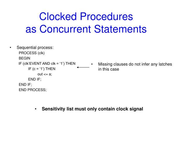 Clocked Procedures
