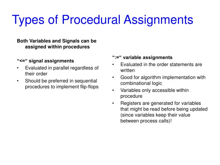 Types of Procedural Assignments