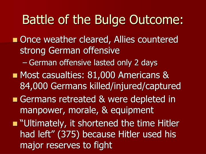 Battle of the Bulge Outcome: