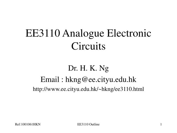 EE3110 Analogue Electronic Circuits