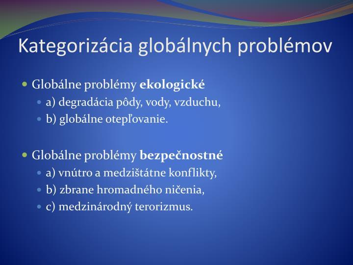 Kategorizácia globálnych problémov