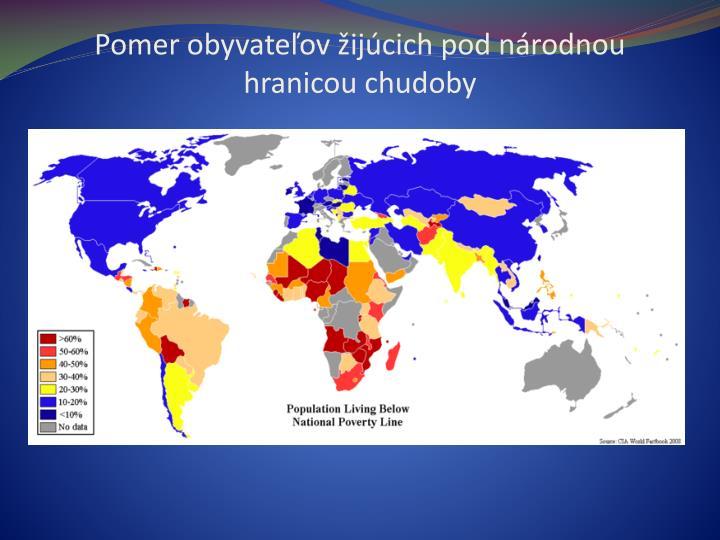 Pomer obyvateľov žijúcich pod národnou hranicou chudoby