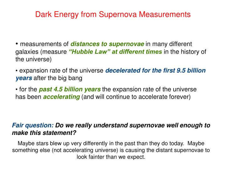 Dark Energy from Supernova Measurements